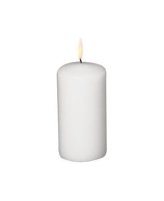 Bloklys, hvid, ø6x12 cm.