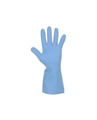 Latexhandske med velour, Blå, str. 9-9,5