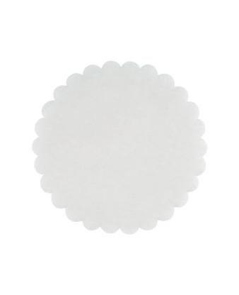 Fadpapir præget hvid, Ø13 cm.
