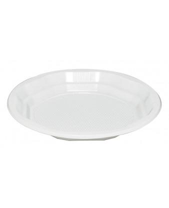 Plasttallerken, hvid, Ø22 cm