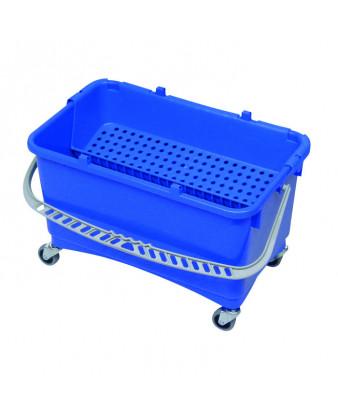 Drypspand 28 liter. med hjul + dryprist, Blå