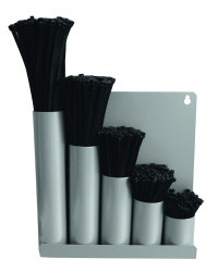 Kabelbindersortiment / strips i metalbox - sort